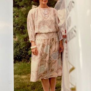 Albert Nipon Vintage1985 Silk 2 piece dress Size 6